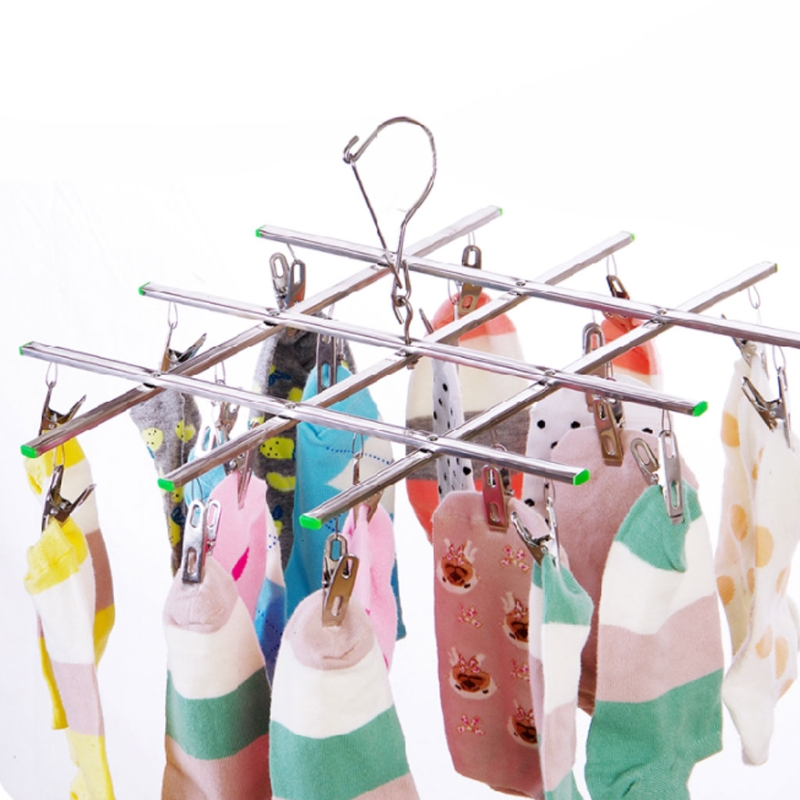 20 Clips Collapsible Stainless Steel Windproof Clothespin Laundry Hanger Sock Towel Bra Drying Rack Clothes Peg Hook Airer Dryer