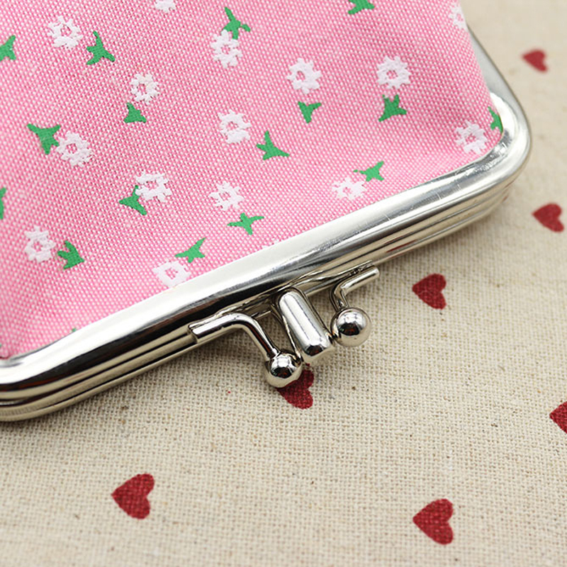 Popular Sweet Flower Pattern Canvas mini coin Purses for women Kids Wallet change clip For Girls female students casual purses