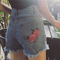 2017 Korean BF Style Roses Embroidery Women Shorts Plus Size Summer Short Jeans Vintage Fashion High Waist Shorts 41063