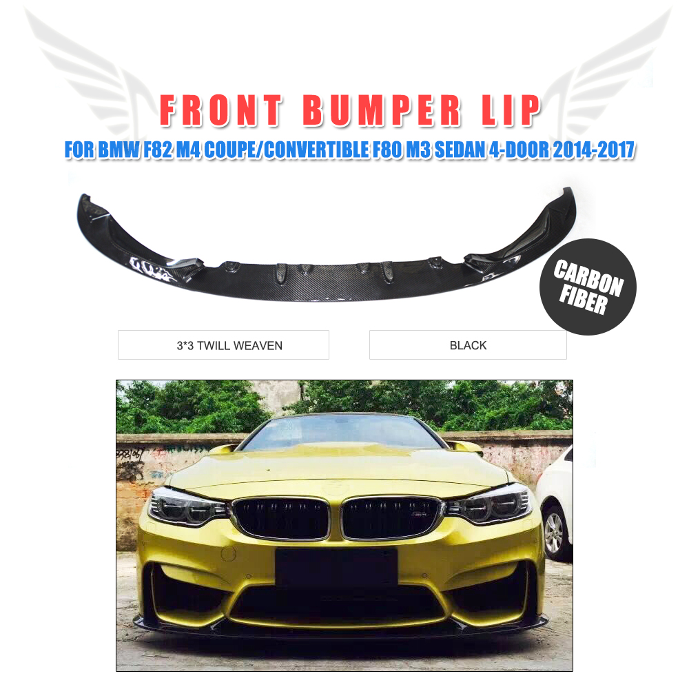 3D Style Carbon Fiber Front Lip Chin Spoiler for BMW F82 M4 Coupe Convertible F80 M3 Sedan 4-Door 2014-2017