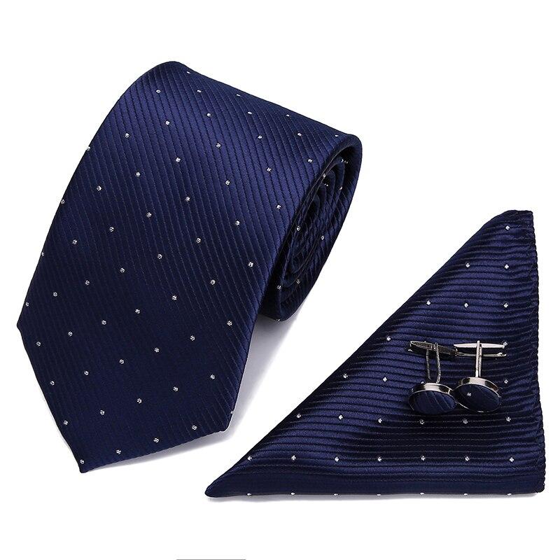 Tie Hanky Cufflinks Sets Silk Ties men Formal Wedding Party Groom 2019 New Striped Geometric Silk Jacquard Woven neck tie suit in Men 39 s Ties amp Handkerchiefs from Apparel Accessories