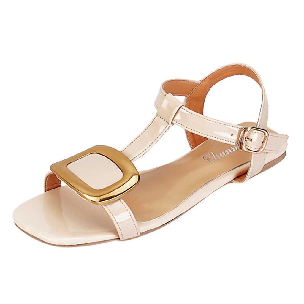 MUQGEW Sandals Ankle-Shoes Comfort Fish-Mouth Female Flat Casual Belt-Buckle
