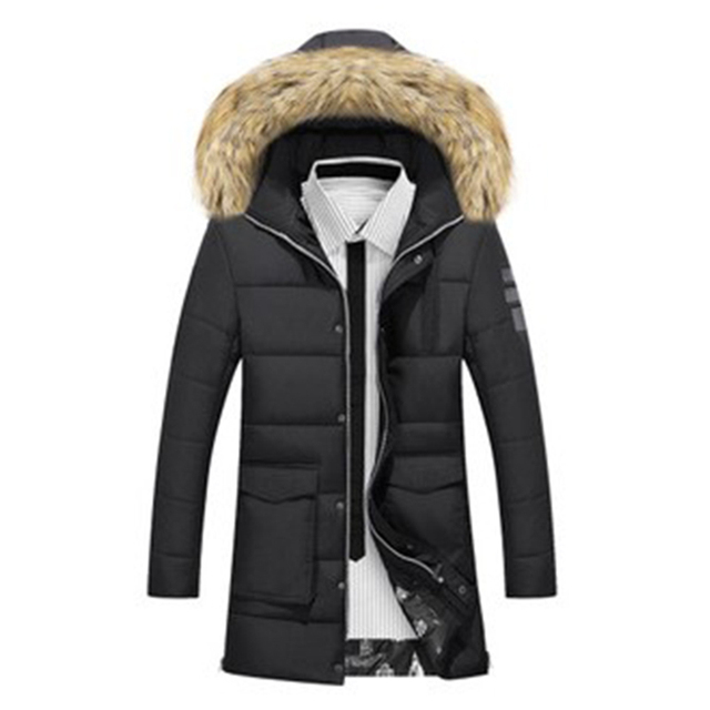 Raccoon Dog Artificial 2016 New Winter Men Cotton Padded Long Black Thick Warm Casual Hooded Male Jacket Coat H100