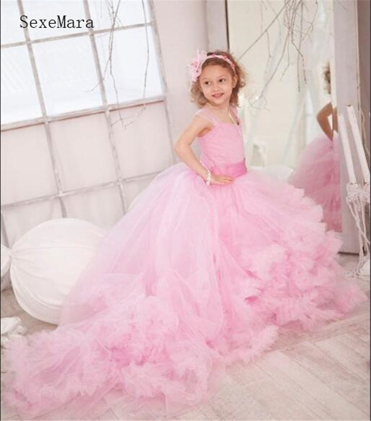 Delightful Pink   Dress   Like A Cloud For Your Princess Luxury   Flower     Girl     Dress   With Long Sweep Train Tulle Tiered Vestidos