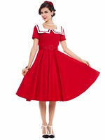 Sisjuly Hot Red Square Collar Cotton Vintage 1950s Retro Style Lady Dress For Women Factory Direct
