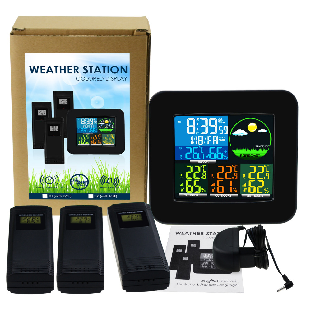 Digital Weather Station 3 Wireless Sensor w 6 Weather Forecast RCC DCF MSF Thermometer Hygrometer LED