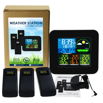 Digital Weather Station 3 Wireless Sensor w/ 6 Weather Forecast RCC DCF MSF Thermometer & Hygrometer LED LCD Display