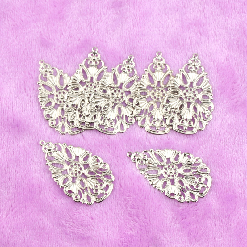50pcs Filigree Leaf Wraps Connectors Iron Crafts For DIY Jewelry Making Pendant