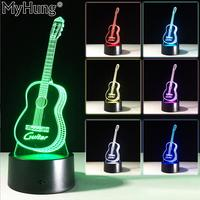 Cute Guitar 3D Night Lights Stereo Bedroom Table Lamp Novelty Acrylic Lamp 7 Color Changing USB