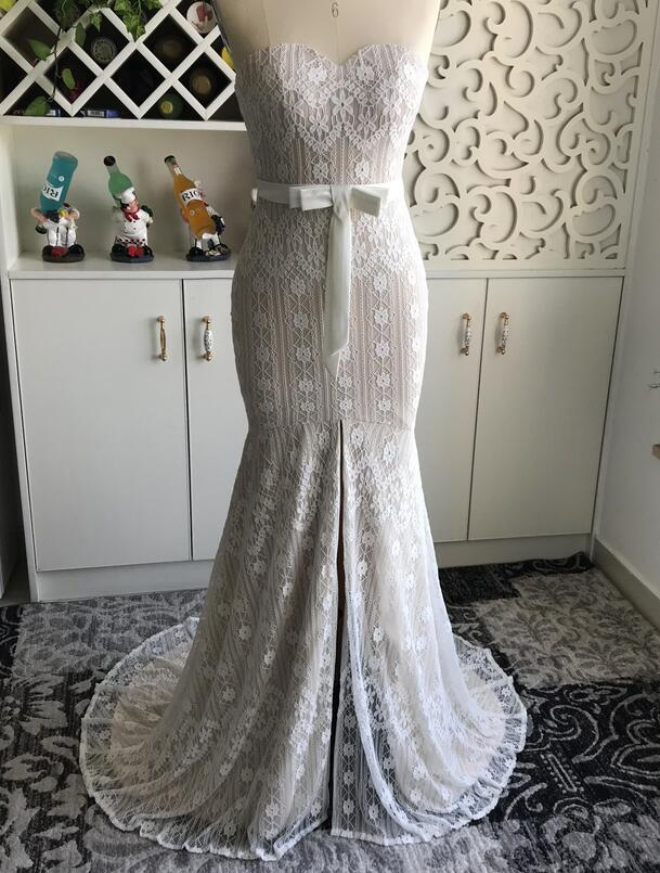 e22345117e US $192.72 12% OFF Mryarce Chic Style Delicate Lace Mermaid Wedding Dress  With Bow Sweetheart Front Slit Open Leg Bridal Gown -in Wedding Dresses  from ...