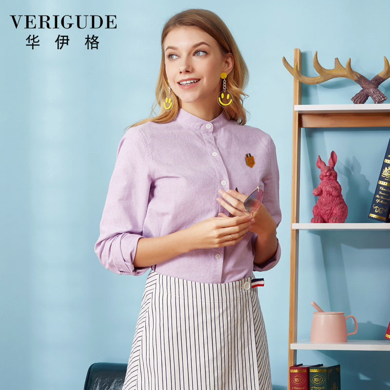 9f150309 Veri Gude Plus Size Women Blouses and Shirts Long Sleeve Vintage Oxford  Blouse and Shirts 100% Pure Cotton Loose Solid Blouse-in Blouses & Shirts  from ...