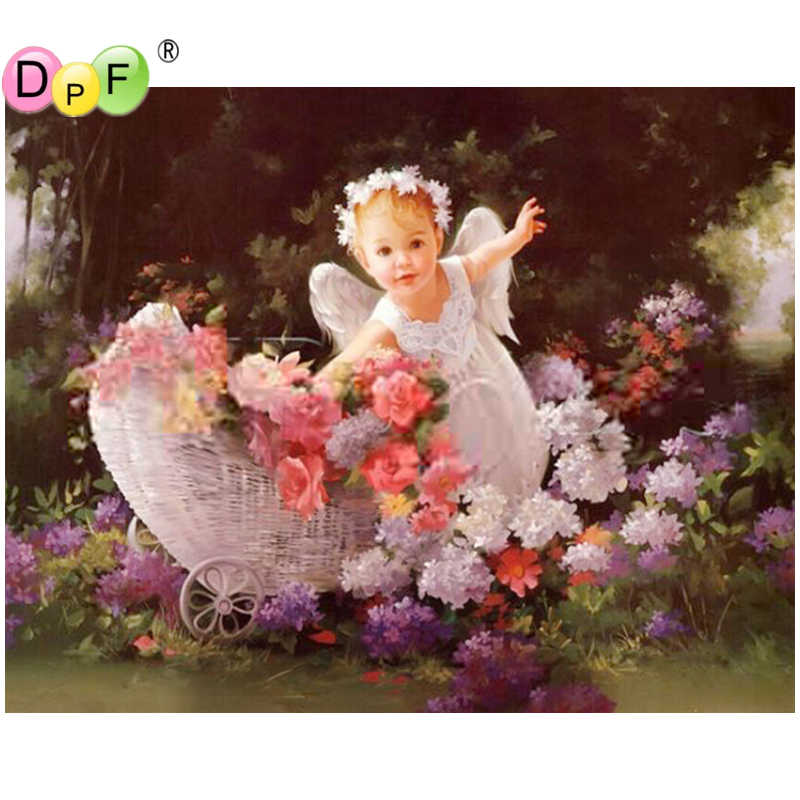 Round 5D Diamond Painting Embroidery Purple White Flowers Embroidery for Child