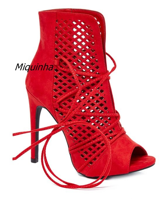 Trendy Style Cut-out Lace Up Booties Pretty Red Suede Open Toe Stiletto Heel Dress Shoes Women New Fashion Summer Ankle Boots flower embroidery bridal winter chinese lace up women ankle boots medium heel embroidered red satin wedding booties stiletto