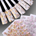 10PCS/Lot 24 Styles Pink Golden Silver Color Flower 3D Design Art Nail Sticker Nail Tip Decoration Gel Nail Decals wholesale