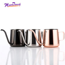 купить Stainless Steel Milk Frothing Jug Gooseneck Kettle Teflon Non-stick Swan Neck Drip Coffee Tea Pot Teflon Coating 250/350ml дешево