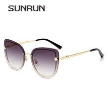 SUNRUN 2017 New Cat Eye Women Sunglasses Brand Designer Fashion Gradient Rimless Sun glasses Women Vintage Glasses T7019