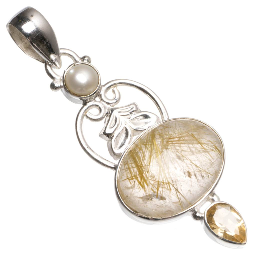 Natural Rutilated Quartz,Citrine and River Pearl Mexican 925 Sterling Silver Pendant 2