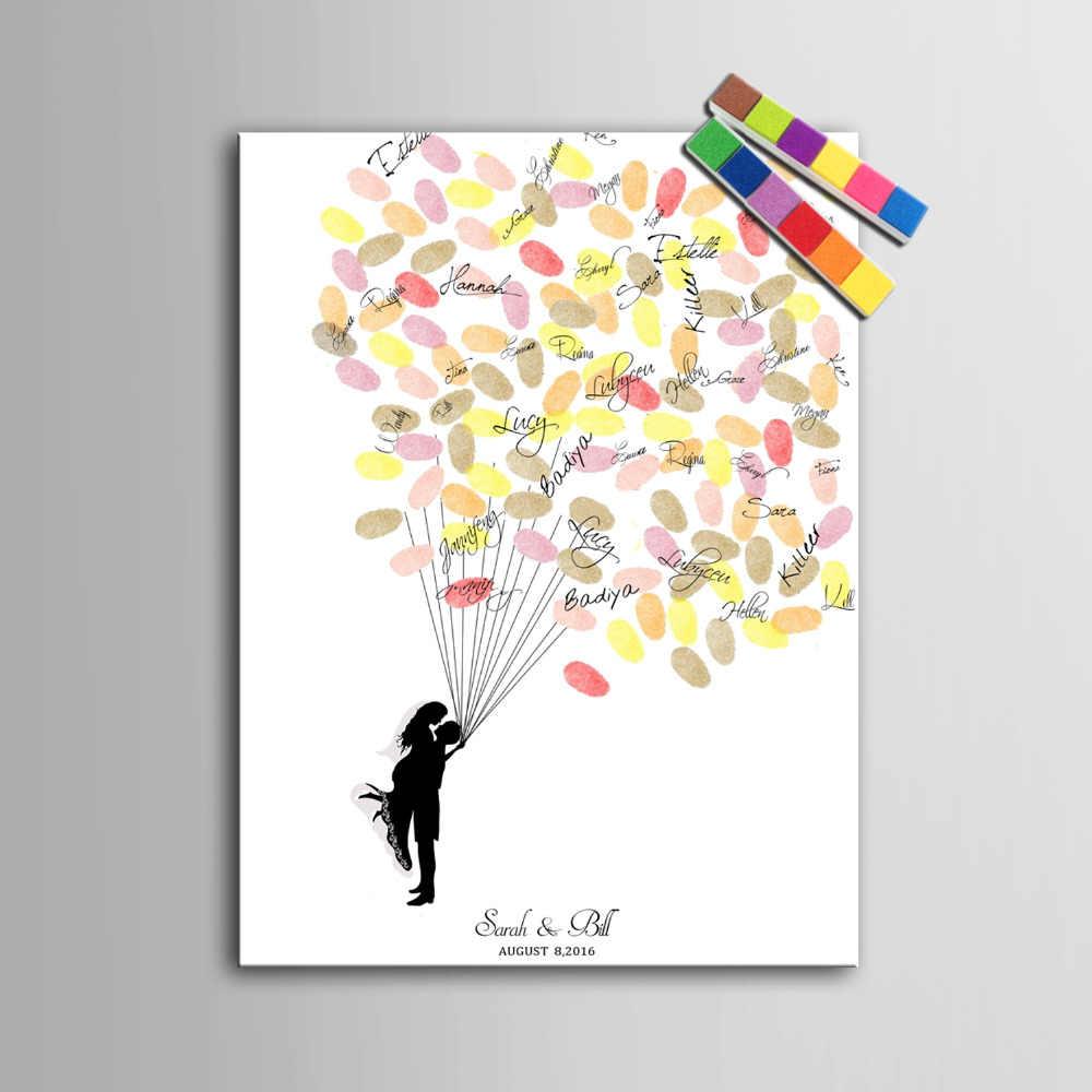 指紋ツリー署名キャンバス絵画カップル結婚祝いパーティーギフト結婚式diyの装飾パーティーギフト(インクルード6Ink色