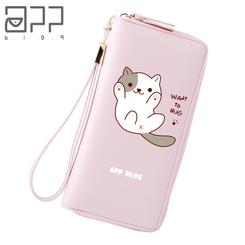 APP BLOG Long Cute Cartoon Sweet Cat Wallet Bag Coin Purse 2018 New Fashion Fresh Women Girl Clutch Student Femme Lovely Wallets fashion girl change clasp purse money coin purse portable multifunction long female clutch travel wallet portefeuille femme cuir