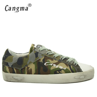 CANGMA Italy Brand Canvas Sneakers Men Shoes Breathable Mans Green Camouflage Shoes Male Lace Up Leisure
