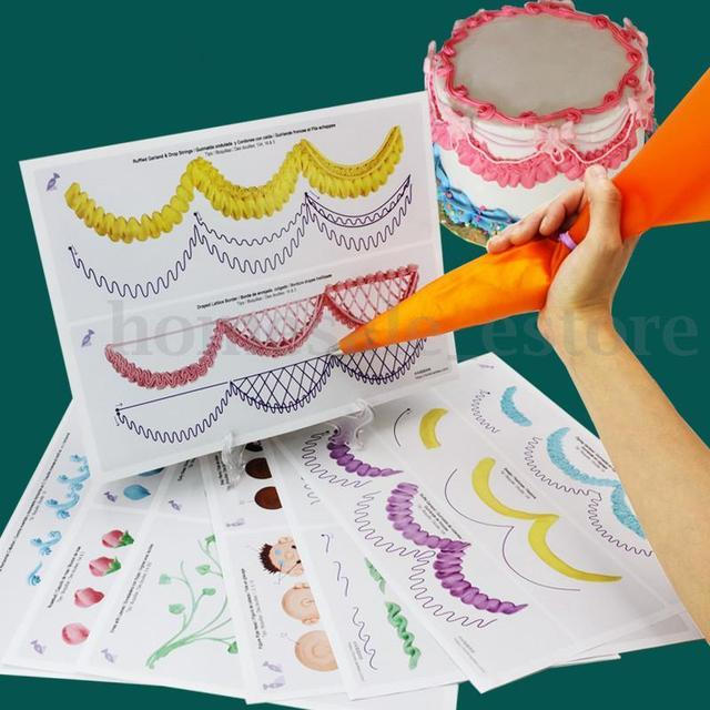 23pcs set cake icing piping diy practice drawing board template paper decor practice template paste