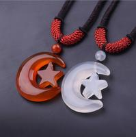 TJP natural transparent star moon Chalcedony Sweater chain agate Chalcedony jade pendant with certificate china