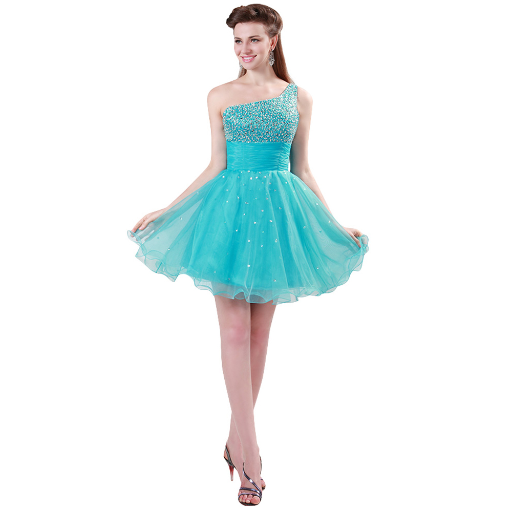 Grace Karin Popular Short Beading Sequin One shoulder Turquoise ...