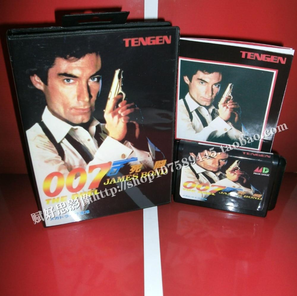 007 James Bond Game cartridge with Box and Manual 16 bit MD card for Sega Mega Drive for Genesis