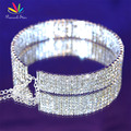 Peacock Star Bridal Wedding  Party Prom 5 Row Crystal Rhinestone Stiff Choker Bling Pageant Jewelry CC016