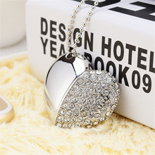 16 GB USB Flash Drives Mini Diamond Crystal Heart shaped USB Disk Memory Stick girls gifts USB Digital with Key Chain Hole