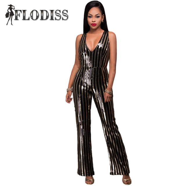 Women Sequin Jumpsuit Black Gold Striped Sexy Deep V-Neck Bodycon Mesh Romper 2017 New Arrival Fashion Lady Party Club Overalls