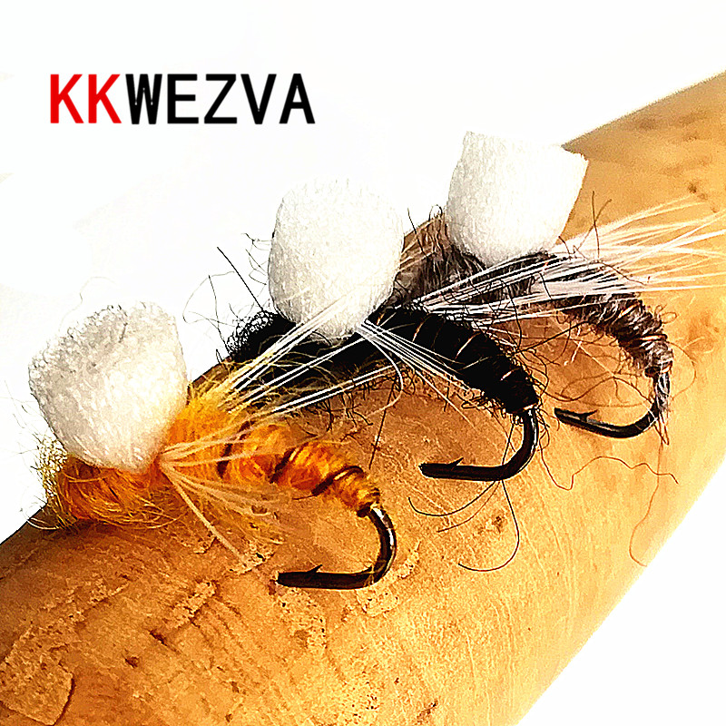 KKWEZVA 24PCS fly fishing lure dry floating type insect similar to artificial fly bait carp bait fishing Tackle