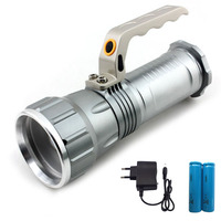 T6 Long range Searchlight LED Flashlight rechargeable powerful Search Light flash light Torch +18650 battery +charger