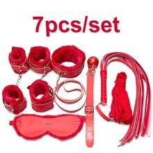 7 шт./лот розовый секс флирт игрушки секс наручники воротник кляп кнут вслепую милый розовый секс пару игр взрослый продукт для любителей
