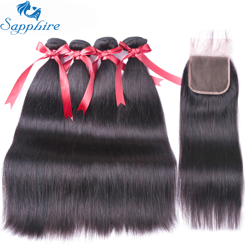 Sapphire human hair Brazilian remy hair straight style 4 bundles with 4 4 lace closure nature