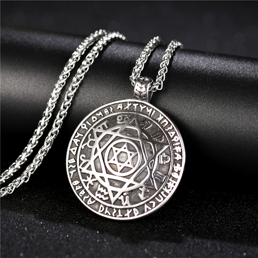 Talisman Hexagram Pentacle Of Solomon Amulet Pendant Necklace for Men Stainless steel Necklaces Jewelry With Gift Bags