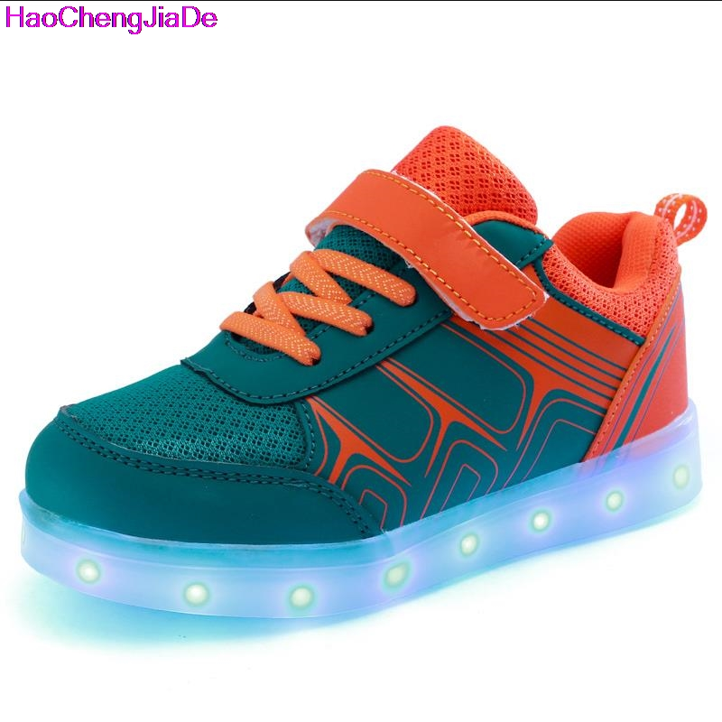 все цены на HaoChengJiaDe Children Shoes Light Led luminous Shoes Boys Girl USB Charging Sport Casual Shoes Kids Glowing Sneakers zapatillas онлайн