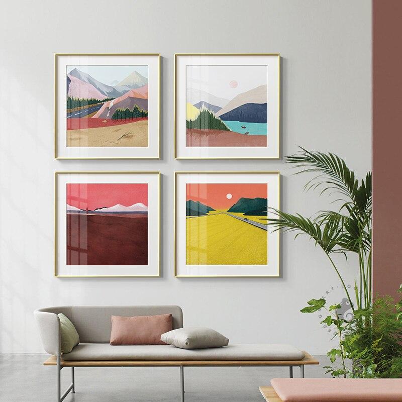Abstrakte Bunte Berge Farbe Block Leinwand Malerei Poster Drucken Moderne Wand Kunst Bilder Für Wohnzimmer Schlafzimmer Gang Taille Und Sehnen StäRken