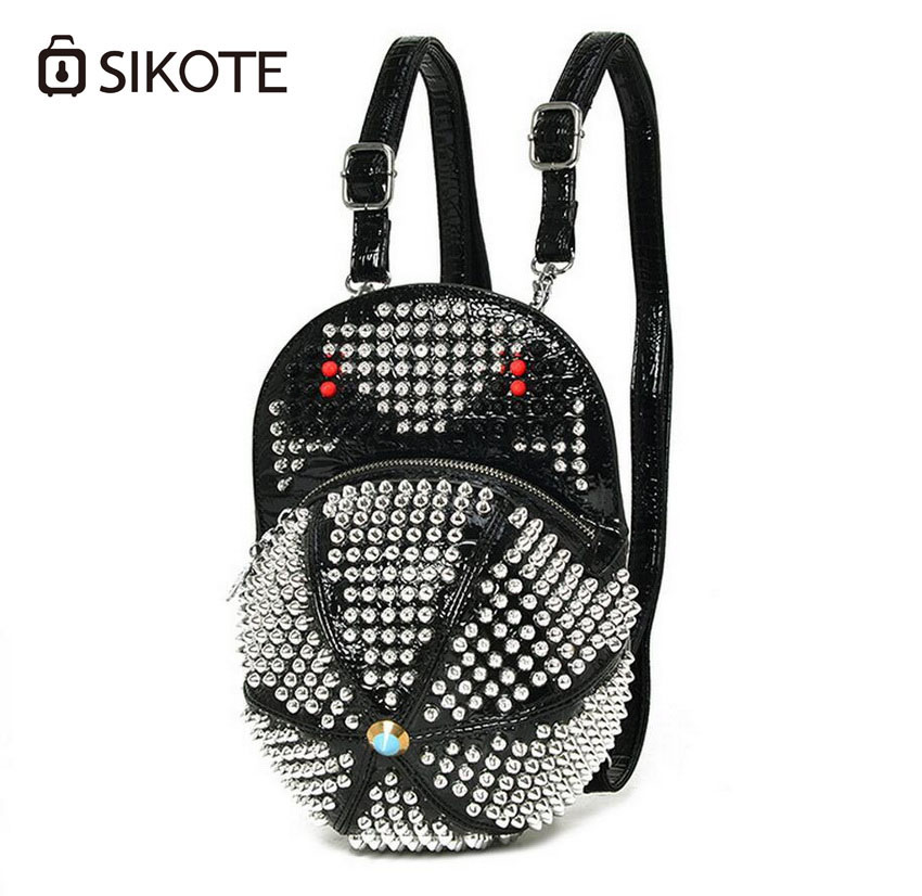 sikote Women's clothing tricolor three-dimensional hat bag shoulder bag can be shoulder solo punk small monster rivets package