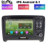 Ips 2 Din 7 Android 8,1 4 ядра радио gps автомобильный dvd плеер с навигацией плеер для Audi TT MK2 8J 2006 2007 2008 2009 2010 2011 2012