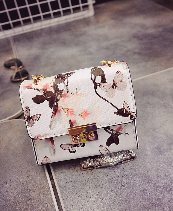 Fashion women mini flap handbags shoulder bag chains bags Messenger bags floral leather satchel print lockbutton