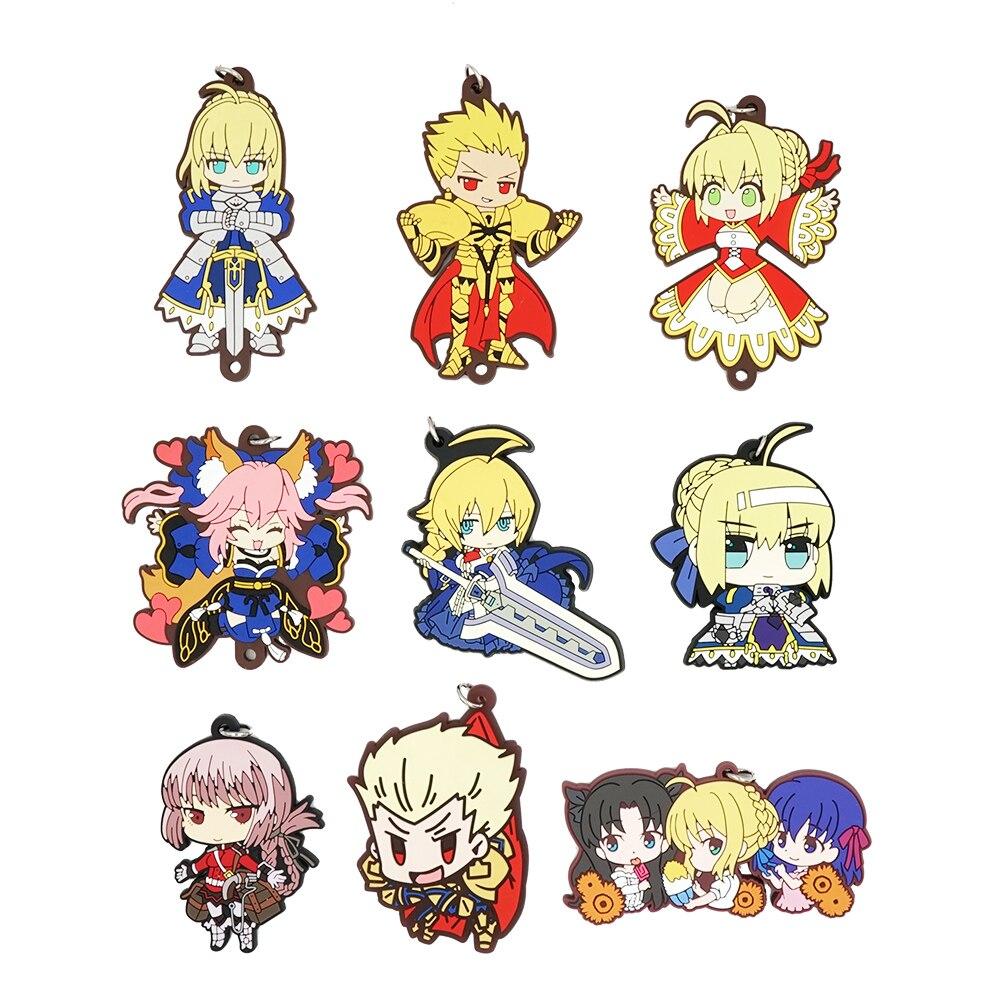 Fate/Grand Order Fate Zero Anime Saber Gilgamesh Nero Tamamo no Mae Fate Grand Order Rubber Keychain fate grand order anime saber jeanne gilgamesh e f g h i j series japanese rubber keychain