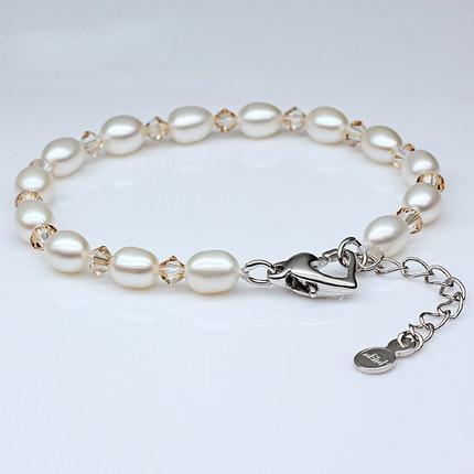 2016 Charm Bracelet Pearl Jewelry Natural Freshwater Pearl Bracelet Crystal Balls Sterling Silver Jewelry Bracelet For Women