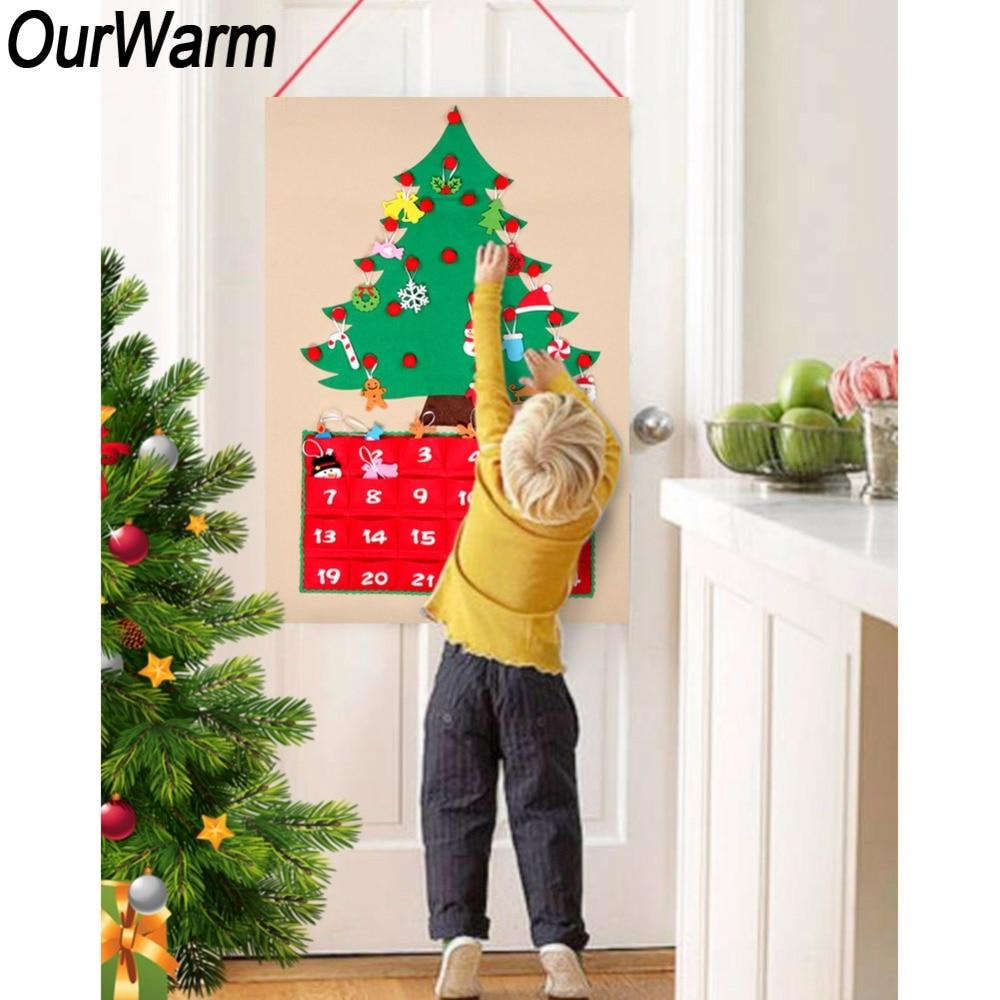 OurWarm Weihnachten Advent Kalender DIY Fühlte Weihnachten Baum Countdown-Kalender Tür Wand Hängen Ornamente Neue Jahr Weihnachten Decor