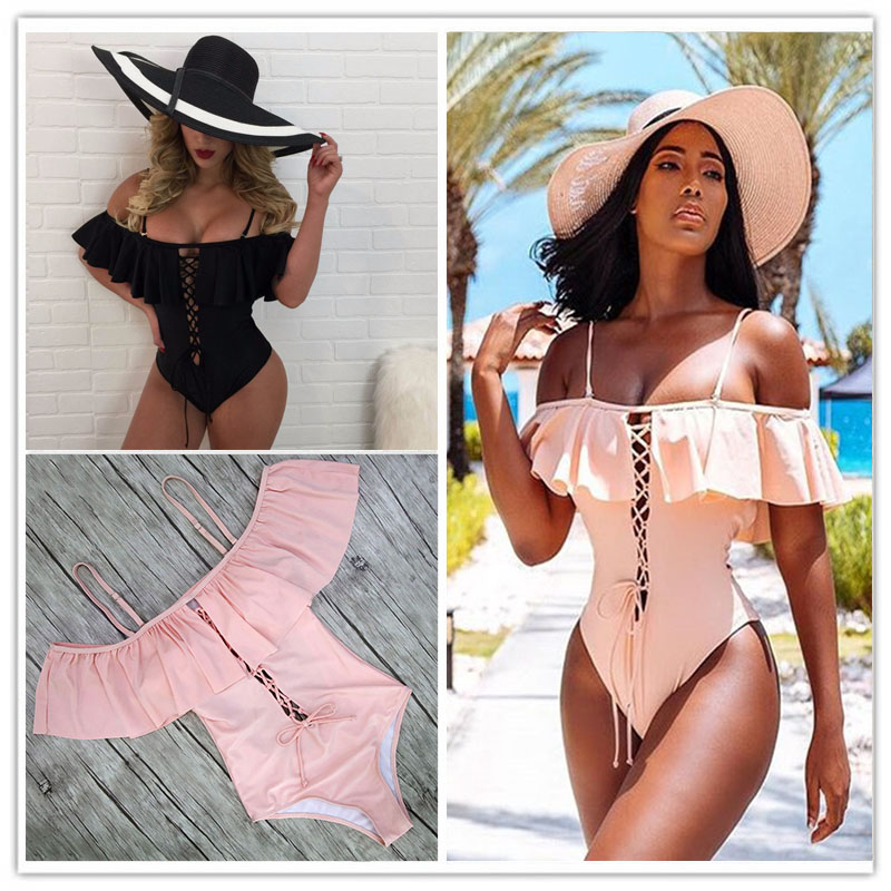 2018 Sexy Solid One Piece Swimsuit Ruffle Swimwear Women Swimsuit Push Up Bathing Suits Swimsuit Suit For Women BeachWear sexy halterneck metal embellished ruffle pink women s swimsuit