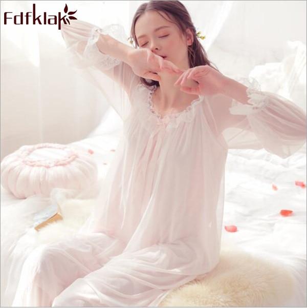 Fdfklak 2018 Spring Summer Long Sleeve Princess Nightgown Lace Sleepwear Night Lingerie Woman Night Sleepwear Gown Dress Q836
