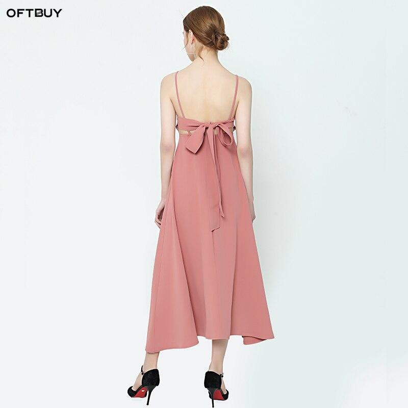 be2e7fac27ae SALE 2019 summer boho beach dress sexy bow Backless sleeveless high waist  pink Chiffon dress women