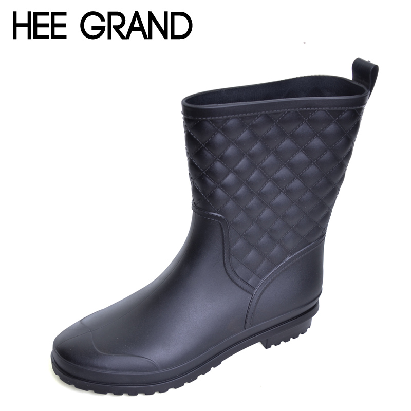 HEE GRAND Platform Rain Boots 2017 Casual Slip On Rubber Women Ankle Boots Sexy Flats Shoes Woman 3 Colors Size 36-41 DWD2633 hee grand pu patent leather autumn rubber women ankle boots casual solid creepers shoes woman fashion women flats shoes xwx6772