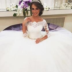 JIERUIZE White Lace Appliques Ball Gown Wedding Dresses 2019 Crystal Sash Button Back Wedding Gowns robe de mariee trouwjurk 3