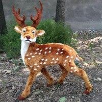 simulation deer model large 55x75cm,plastic&fur sika deer handicraft toy ,home decoration,Xmas gift w5879
